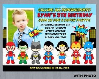 Superhero Photo Invitation, Superhero Invitation, Superhero Birthday Party Invitation, Superhero Invite Digital Print