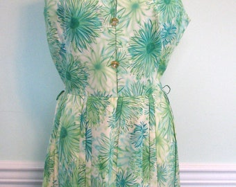 50s Novelty dress - Vintage 50s Dress- Green and Aqua Dress- Mode O Day Floral Rhinestones