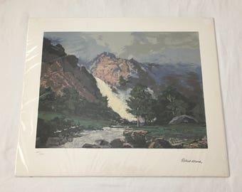 Robert Wood MOUNTAIN WATERFALL LANDSCAPE Signed Serigraph Print 20 x 24  809/1000