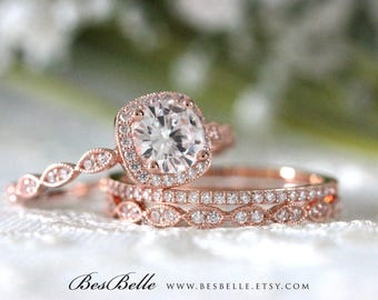 1.79 ct.tw Art Deco Bridal Set-Halo Engagement Ring W/ Mix&Match Eternity Wedding Ring-Rose Gold Plated-Sterling Silver [65355RG-3A]