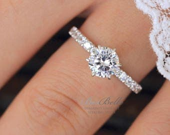 1.30 ct.tw Solitaire Engagement Ring-Brilliant Cut Diamond Simulant-Bridal Ring-Wedding Ring-Elegant Ring-Sterling Silver [5913-1]