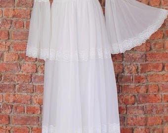 Genuine Vintage Wedding Dress Gown 70s Retro Victorian Edwardian Style UK 6...US 2