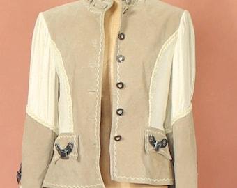 Womens Suede Leather Jacket Trachten Austrian Steampunk Folk Hippie Uk 12...US 8