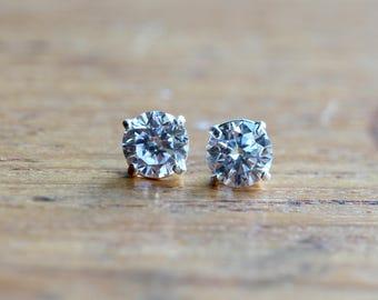 Cubic Zirconia Stud Earrings - Sterling Silver Stud Earrings - CZ Earrings - Diamond Earrings - 5mm Crystal Earrings - Sparkly Earrings  A90
