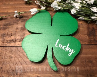 Lucky Shamrock Sign - Wooden Sign - Wall Decor - St Patrick's Day