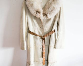 1960s Vintage Suede and Arctic Fox Fur Long Coat
