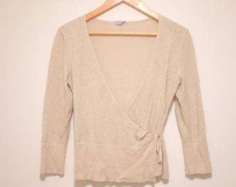 Vintage 90's Glittery Wrap Top With Tie
