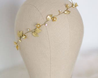 Gold Leaf Headband, Wedding Leaf Headband,Bridal hairpiece, Wedding Headpiece, Leaf Tiara,Rustic Wedding, Leaf Crown, Bridal Gold Hair Vine