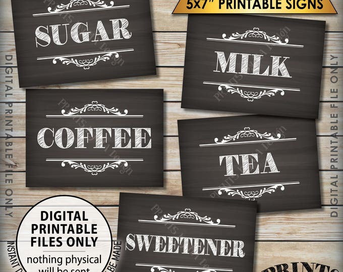 """Coffee Bar Signs, Coffee Sign, Beverage Station, Tea Sign, Wedding Shower Reception Graduation, 5 Chalkboard Style PRINTABLE 5x7"""" Signs <ID>"""