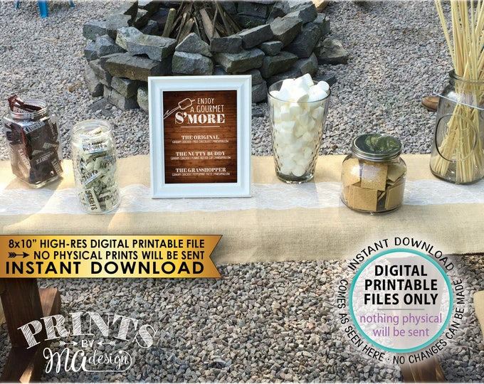 "S'more Menu, Enjoy a Gourmet Smore Sign, S'more Sign, Smores Menu, Gourmet Smore Bar, 8x10"" Rustic Wood Style Instant Download Printable"