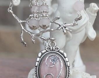 Pink quartz necklace plus earrings