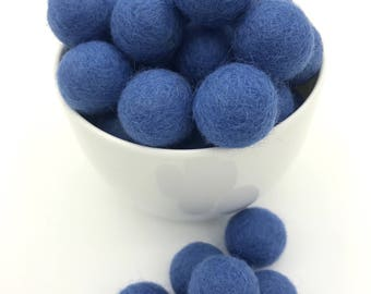 Felt Balls // Felt Pom Poms // Felt Beads // DIY Ball Garland // diy Mobile // diy Necklace //100% Wool Balls // COBALT BLUE // 20mm /2 cm