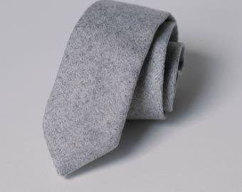 Light Grey Tweed Wool Skinny Tie