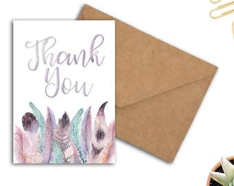 Boho Thank You Card - Watercolor Feathers Card - Appreciation Card For Female / Her /Girlfriend / Sister - Printable 5 x 7 PDF Card- Digital