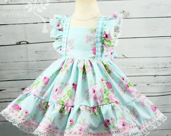 Shabby chic Dress- Vintage Floral Dress- Flower Girl Dress- First Birthday Dress- Special Occassion dress- 6m, 12m,18m,2t,3t, 4, 5, 6, 7, 8