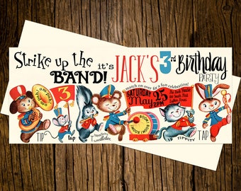 Marching Band Birthday Party Invitations Personalized Custom Printed Set of 12 Party Invites Vintage Ecru Red Blue Yellow Animals Musical