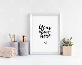 A4 white wooden frame mockup / Styled stock photography / Instant download / vertical frame / #8586