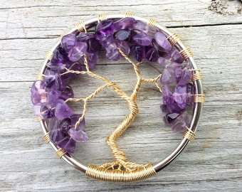Amethyst Tree of Life Necklace - Purple Gemstone Gold Pendant Wire Jewelry - Genealogy Gift for Women, Mom, Wife, Girlfriend, Sister