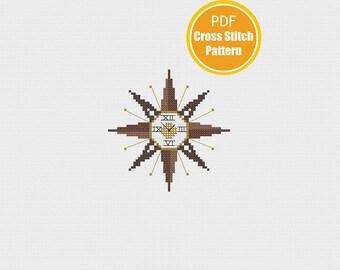 Starburst Clock Cross stitch Pattern - Sunburst Clock - Instant Download PDF - Crossstitch Pattern - Retro Vintage