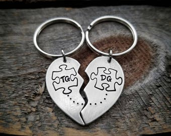 Puzzle piece keychains, Couple keychains, Personalized keychains, Anniversary gifts for boyfriend, Anniversary gift for him, Puzzle Hearts