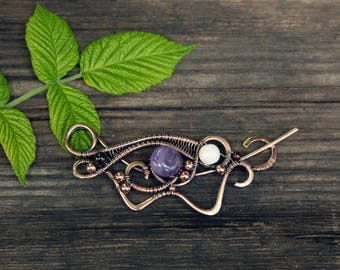 Wire wrapped brooch - Shawl pin - Birthday gift - Sweater brooch - Copper pin - Gift for her - Scarf pin - Wire wrapped pin - Copper shawl