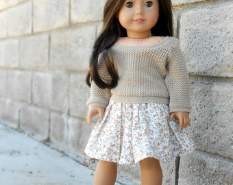 Brown/Tan/Beige Pullover Sweater For American Girl Dolls