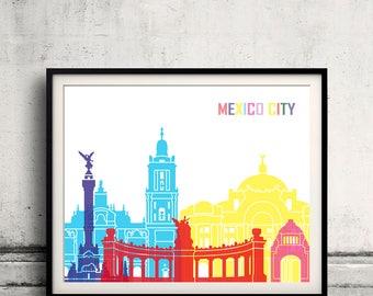 Mexico City skyline pop - Fine Art Print Glicee Poster Gift Illustration Pop Art Colorful Landmarks - SKU 2507