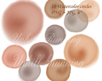Watercolor clipart circles, 10 clipart paint dots, brown watercolour, 6'', design elements, hand drawn clipart, png + jpg, Instant Download