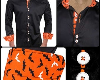 Black and Orange Halloween Designer Dress Shirt - Made To Order in USA