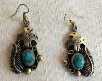 Turquoise Earrings,Navajo Earrings,Turquoise Dangle,Silver Navajo Earring,Thunderbird Earring,Native Earring,Bird Earring,Eagle Earring