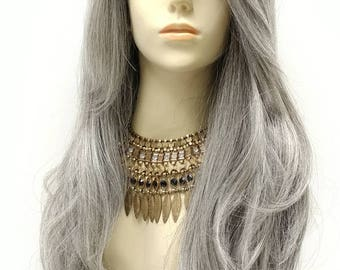 Long 28 inch Lace Front Mixed Gray with Dark Roots Body Wave Wig with Premium Heat Resistant Fiber. Lace Part Wig. [133-648-Vanna-1B/44]