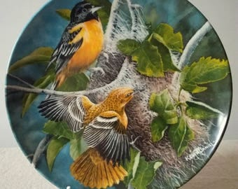 Knowles Fine China Plate 'The Baltimore Oriole' by Artist Kevin Daniel, Made in England