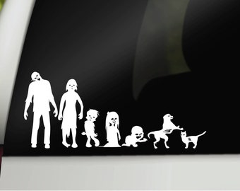 Zombie family decal, car family decal, car window family, family car decal, family car sticker, zombie car decal, zombie family sticker
