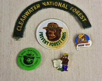 Vintage ,Smokey, Bear,Patches,Pins,Metal Pins,Forest,Protect Our Forests,Prevent Forest,Fires,Set of 5