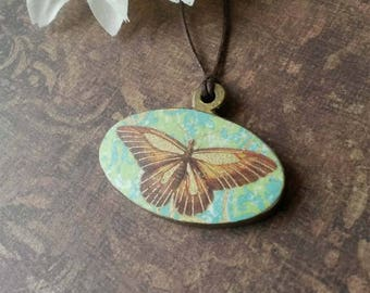Butterfly necklace, decoupage jewelry, necklace for girl