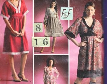 Empire Waist, V Neck Dress Sewing Pattern/ Simplicity 4072 Women's Loose Long Sleeve, Fit and Flare Dress, UnCut/ size 8 10 12 14 16