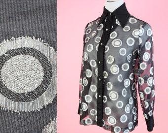 Vintage Bernie Bee Dress Shirt // 1950s, Black, Silver Party Blouse, 70s Top, Rhinestone Buttons, Women Size Small Medium