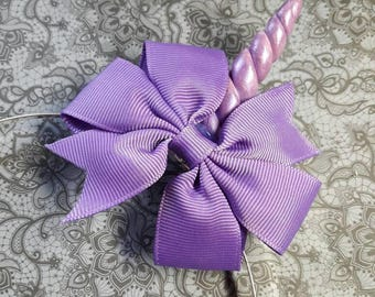 Unicorn headband with side Horn and big loop in purple