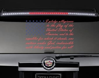 Pledge of Allegence Flag Car Vehicle Window Decal- Size and Color Options available.