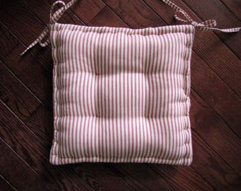 dining chair pad with ties custom chair cushion made in red and white ticking stripe