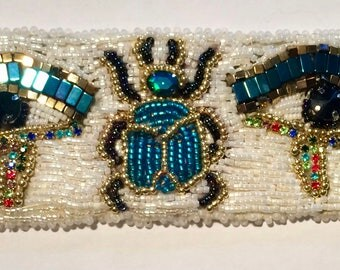 """Embroidered cuff bracelet beads """"Egypt"""""""