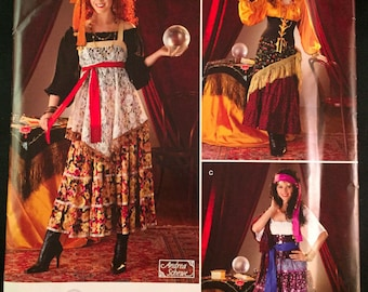 Simplicity 0808 Gypsy Fortune Teller Halloween Costume Sewing Pattern Sz 6-12
