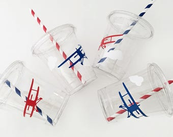 Airplane Party Cups - Airplane Party - Airplane Birthday - Vintage Airplane Baby Shower - Plane Birthday - Treat Cups - Plane Baby Shower