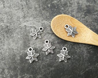 Charms star, snowflakes, Decoration party Christmas silvery Metal, 13 x 11 mm