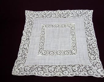 White Lace Handkerchief Cotton Square, Bridal Hankie, Wedding Gift Handkerchief, Vintage 1950s