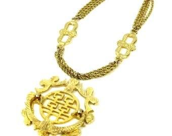 Les Bernard Gold Medallion Necklace, Asian Gold Metal Chain Link Necklace, Knocker Style, Vintage 1970s