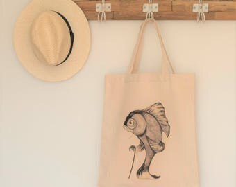 Fish bag, fish lover gift, funky tote bag, cool fish bag, vegan bag, market bag, tote bag