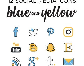 Social Media Icon set - Simple Blog buttons - Blue and yellow modern design social media icons - INSTANT DOWNLOAD