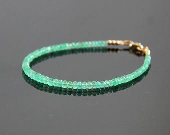 Emerald Bracelet - Zambian Emerald Beaded Bracelet, Natural Emerald Bracelet, May Birthstone, May Birthstone Jewelry, Green Stone Bracelet