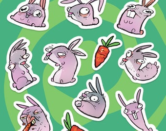 Stickers - Bunnies - illustrated by krzymsky